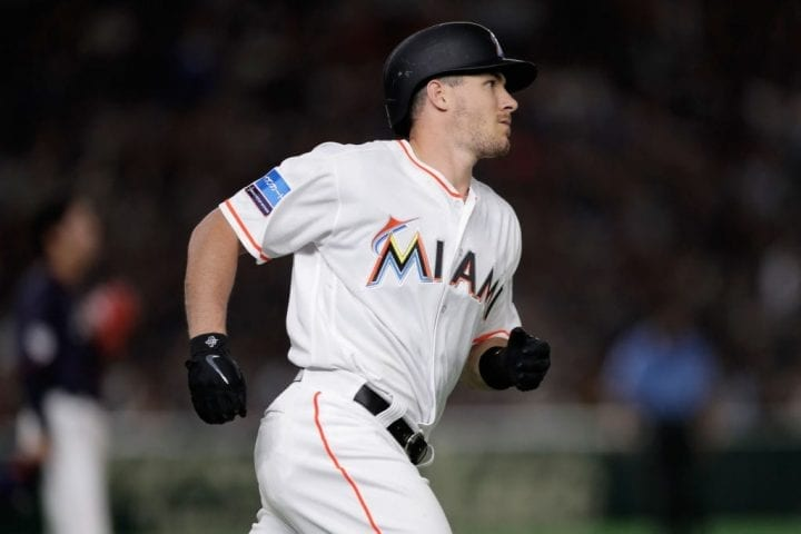 TOKYO, JAPAN - NOVEMBER 10: Catcher J.T. Realmuto #11 of the Miami Marlins runs after hitting a three-run home run in the bottom of 8th inning during the game two of the Japan and MLB All Stars at Tokyo Dome on November 10, 2018 in Tokyo, Japan. (Photo by Kiyoshi Ota/Getty Images)