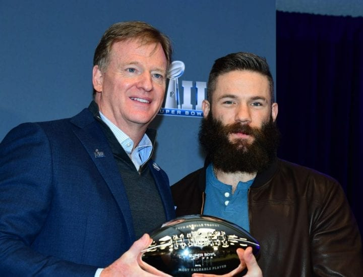ATLANTA, GA - FEBRUARY 4: NFL Commissioner Roger Goodell (L) awards the Super Bowl MVP to Julian Edelman of the New England Patriots at the Georgia World Congress Center on February 4, 2019 in Atlanta, Georgia. (Photo by Scott Cunningham/Getty Images)