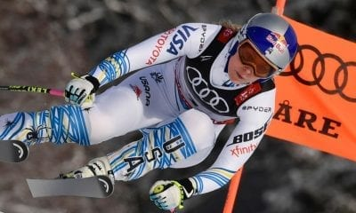 ARE, SWEDEN - FEBRUARY 10: Lindsey Vonn of USA wins the bronze medal during the FIS World Ski Championships Women's Downhill on February 10, 2019 in Are Sweden. (Photo by Alain Grosclaude/Agence Zoom/Getty Images)