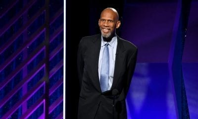 BEVERLY HILLS, CALIFORNIA - FEBRUARY 04: Kareem Abdul-Jabbar speaks onstage at the 18th Annual AARP The Magazine's Movies For Grownups Awards at the Beverly Wilshire Four Seasons Hotel on February 04, 2019 in Beverly Hills, California. (Photo by Frazer Harrison/Getty Images)