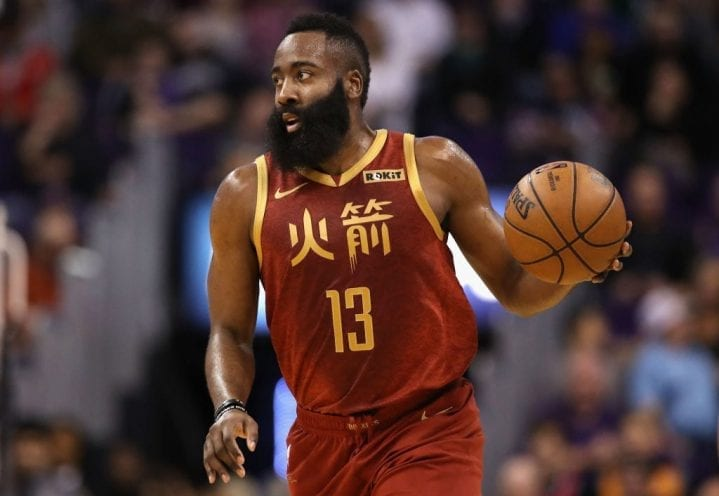PHOENIX, ARIZONA - FEBRUARY 04: James Harden #13 of the Houston Rockets handles the ball during the first half of the NBA game against the Phoenix Suns at Talking Stick Resort Arena on February 04, 2019 in Phoenix, Arizona. (Photo by Christian Petersen/Getty Images)