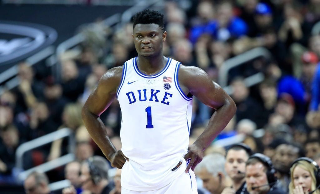 LOUISVILLE, KENTUCKY - FEBRUARY 12: Zion Williamson #1 of the Duke Blue Devils watches the action against the Louisville Cardinals at KFC YUM! Center on February 12, 2019 in Louisville, Kentucky. (Photo by Andy Lyons/Getty Images)