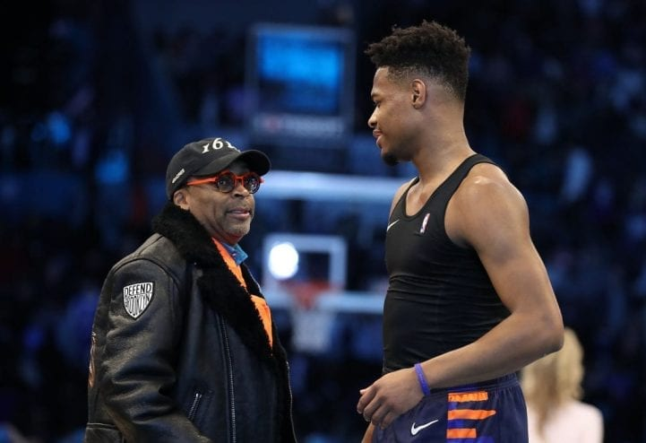 CHARLOTTE, NORTH CAROLINA - FEBRUARY 16: Dennis Smith, Jr. #5 (R) of the New York Knicks talks with director Spike Lee (L) after the AT&T Slam Dunk as part of the 2019 NBA All-Star Weekend at Spectrum Center on February 16, 2019 in Charlotte, North Carolina. (Photo by Streeter Lecka/Getty Images)