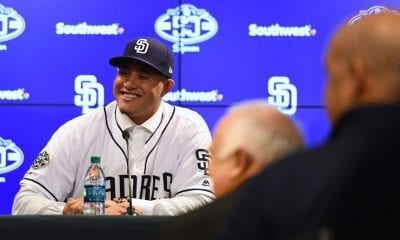 PEORIA, ARIZONA - FEBRUARY 22: Manny Machado #8 of the San Diego Padres addresses the media at Peoria Stadium on February 22, 2019 in Peoria, Arizona. (Photo by Jennifer Stewart/Getty Images)