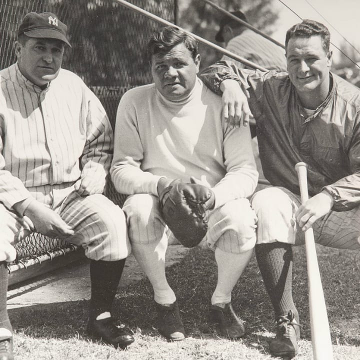 Babe Ruth and Lou Gehrig with Yankees manager