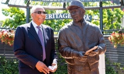 CLEVELAND, OH - MAY 27: Former Cleveland Indians manager and player Frank Robinson stands with a new statue commemorating his career prior to the game between the Cleveland Indians and the Kansas City Royals at Progressive Field on May 27, 2017 in Cleveland, Ohio. Frank Robinson became the first African-American manager in Major League history on April 8, 1975, as a player-manager for the Indians.(Photo by Jason Miller/Getty Images)
