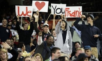 WASHINGTON - SEPTEMBER 30: Fans hold up signs to honor Manager Frank Robinson #20 of the Washington Nationals during the game against the New York Mets on September 30, 2006 at RFK Stadium in Washington, DC. (Photo by Jamie Squire/Getty Images)