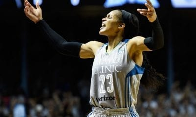 MINNEAPOLIS, MN - OCTOBER 04: Maya Moore #23 of the Minnesota Lynx pumps up the crowd in the final minute of Game Five of the WNBA Finals against the Los Angeles Sparks on October 4, 2017 at Williams in Minneapolis, Minnesota. The Lynx defeated the Sparks 85-76 to win the championship. NOTE TO USER: User expressly acknowledges and agrees that, by downloading and or using this Photograph, user is consenting to the terms and conditions of the Getty Images License Agreement. (Photo by Hannah Foslien/Getty Images)