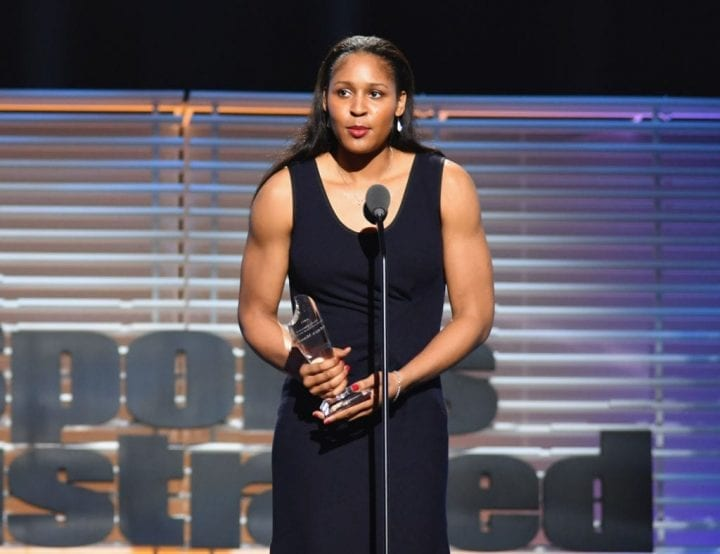 NEW YORK, NY - DECEMBER 05: Maya Moore receives the Performer of the Year Award during SPORTS ILLUSTRATED 2017 Sportsperson of the Year Show on December 5, 2017 at Barclays Center in New York City. Tune in to NBCSN on December 8 at 8 p.m. ET or Univision Deportes Network on December 9 at 8 p.m. ET to watch the one hour SPORTS ILLUSTRATED Sportsperson of the Year special. (Photo by Slaven Vlasic/Getty Images for Sports Illustrated)