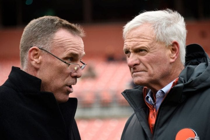CLEVELAND, OH - DECEMBER 10: New General Manager John Dorsey (L) and owner Jimmy Haslam talk before the game against the Green Bay Packers at FirstEnergy Stadium on December 10, 2017 in Cleveland, Ohio. (Photo by Jason Miller/Getty Images)