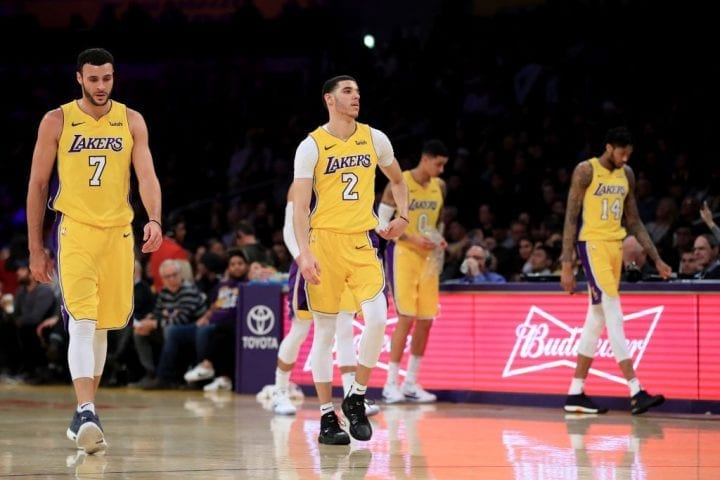 Larry Nance Jr., Lonzo Ball, Kyle Kuzma, and Brandon Ingram