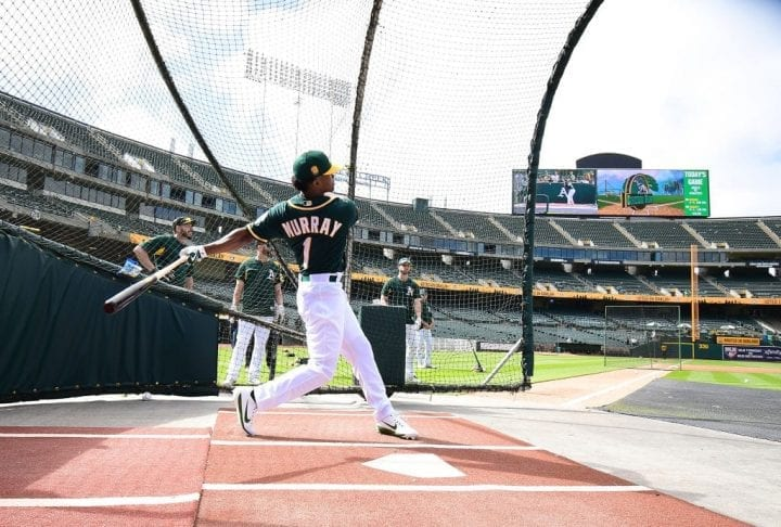 OAKLAND, CA - JUNE 15: The Oakland Athletics number one draft pick Kyler Murray #1 an outfielder out of the University of Oklahoma takes batting practice prior to the start of the game between the Los Angeles Angels of Anaheim and Oakland Athletics at the Oakland Alameda Coliseum on June 15, 2018 in Oakland, California. (Photo by Thearon W. Henderson/Getty Images)