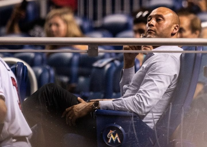MIAMI, FL - JULY 02: Miami Marlins CEO Derek Jeter watches the walk off single by Yadiel Rivera #2 in the tenth inning against the Tampa Bay Rays at Marlins Park on July 2, 2018 in Miami, Florida. (Photo by Mark Brown/Getty Images)
