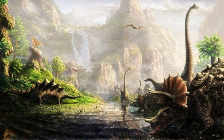 dinosaurs eating and drinking from streams