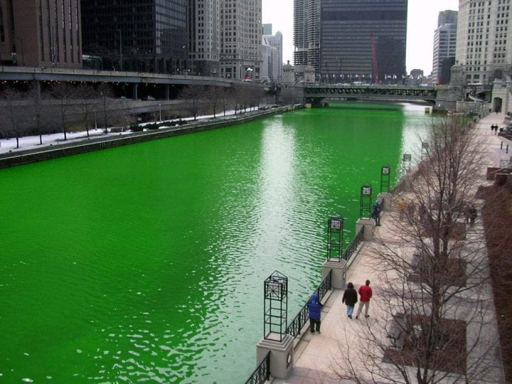 A green river in the middle of the city