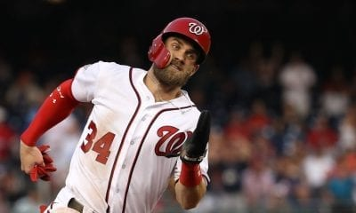 WASHINGTON, DC - AUGUST 22: Bryce Harper #34 of the Washington Nationals runs the bases before scoring against the Philadelphia Phillies during the first inning at Nationals Park on August 22, 2018 in Washington, DC. (Photo by Patrick Smith/Getty Images)