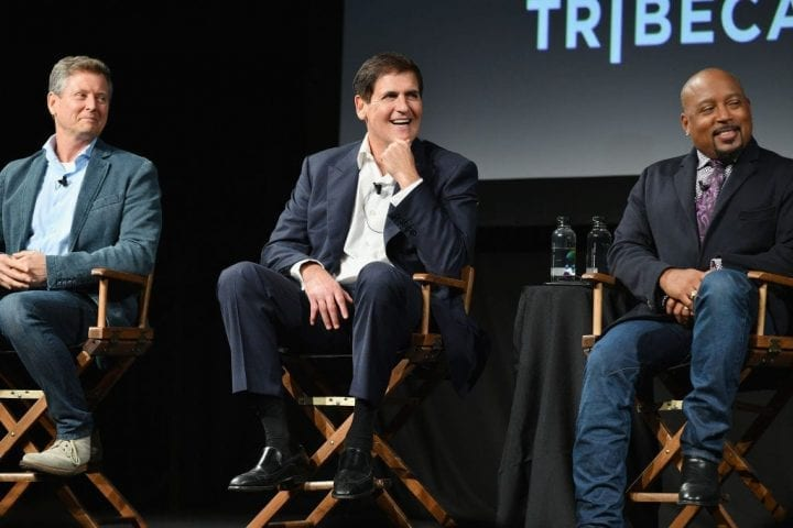 "NEW YORK, NY - SEPTEMBER 23: Clay Newbill, Mark Cuban and Damond John speak onstage at the Tribeca Talks Panel: 10 Years Of ""Shark Tank"" during the 2018 Tribeca TV Festival at Spring Studios on September 23, 2018 in New York City. (Photo by Dia Dipasupil/Getty Images)"