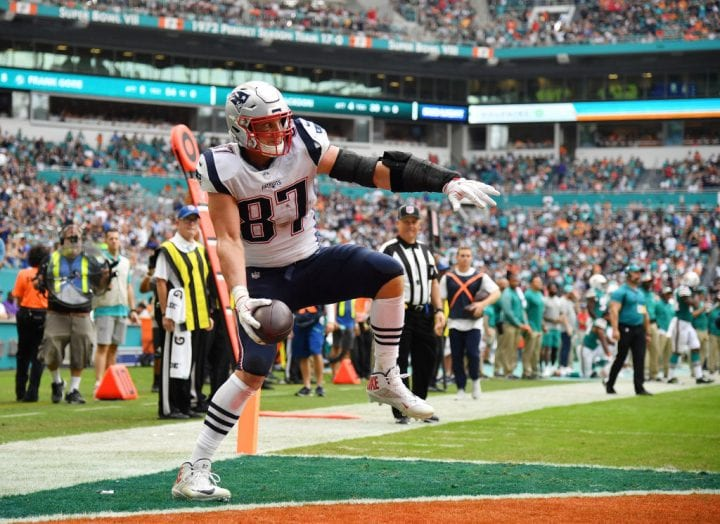 MIAMI, FL - DECEMBER 09: Rob Gronkowski #87 of the New England Patriots celebrates after scoring a touchdown in the second quarter against the Miami Dolphins at Hard Rock Stadium on December 9, 2018 in Miami, Florida. (Photo by Mark Brown/Getty Images)