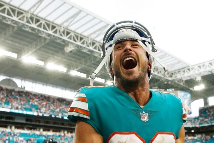 MIAMI, FL - DECEMBER 09: Danny Amendola #80 of the Miami Dolphins reacts after the Miami Dolphins defeat the New England Patriots 34-33 at Hard Rock Stadium on December 9, 2018 in Miami, Florida. (Photo by Michael Reaves/Getty Images)
