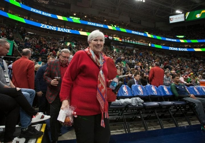 SALT LAKE CITY, UT - DECEMBER 25: Gail Miller owner and Chairman of the Board of the Utah Jazz walks to her seat before the start of their game against the Portland Trail Blazers at the Vivint Smart Home Arena on December 25, 2018 in Salt Lake City , Utah. NOTE TO USER: User expressly acknowledges and agrees that, by downloading and or using this photograph, User is consenting to the terms and conditions of the Getty Images License Agreement. (Photo by Chris Gardner/Getty Images)