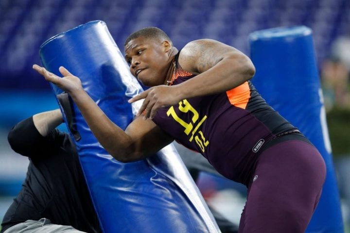 INDIANAPOLIS, IN - MARCH 03: Defensive lineman Quinnen Williams of Alabama works out during day four of the NFL Combine at Lucas Oil Stadium on March 3, 2019 in Indianapolis, Indiana. (Photo by Joe Robbins/Getty Images)