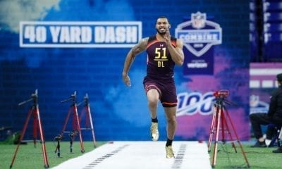 INDIANAPOLIS, IN - MARCH 03: Defensive lineman Montez Sweat of Mississippi State runs the 40-yard dash during day four of the NFL Combine at Lucas Oil Stadium on March 3, 2019 in Indianapolis, Indiana. (Photo by Joe Robbins/Getty Images)