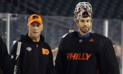 PHILADELPHIA, PENNSYLVANIA - FEBRUARY 22: Assistant Coach Rick Wilson and goaltender Cam Talbot #33 of the Philadelphia Flyers skate during the team's practice session prior to Saturday's 2019 Coors Light NHL Stadium Series game at the Lincoln Financial Field on February 22, 2019 in Philadelphia, Pennsylvania. (Photo by Bruce Bennett/Getty Images)