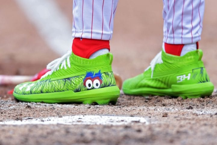 PHILADELPHIA, PA - MARCH 28: Bryce Harper #3 of the Philadelphia Phillies wears cleats with the Philly Phanatic cleats during the game against the Atlanta Braves on Opening Day at Citizens Bank Park on March 28, 2019 in Philadelphia, Pennsylvania. (Photo by Drew Hallowell/Getty Images)