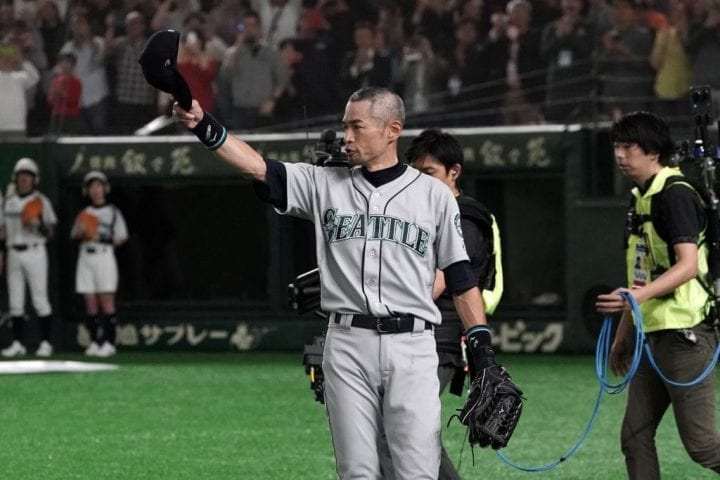 TOKYO, JAPAN - MARCH 21: Outfielder Ichiro Suzuki #51 of the Seattle Mariners applauds fans as he is substituted to retire from baseball during the game between Seattle Mariners and Oakland Athletics at Tokyo Dome on March 21, 2019 in Tokyo, Japan. (Photo by Masterpress/Getty Images)