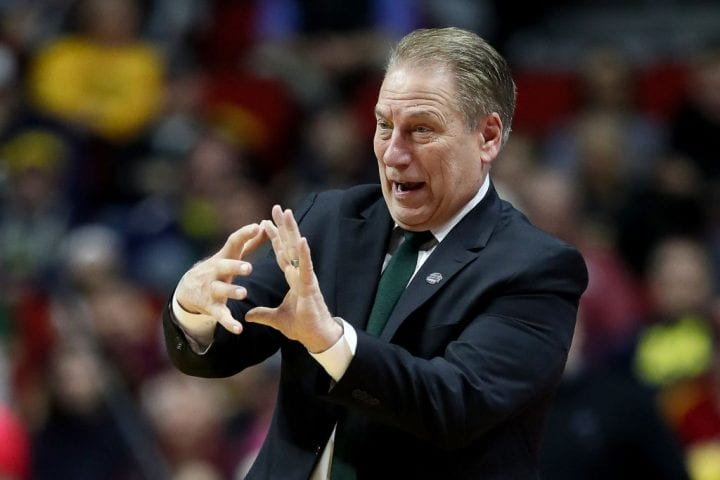 DES MOINES, IOWA - MARCH 23: Head coach Tom Izzo of the Michigan State Spartans reacts against the Minnesota Golden Gophers during the second half in the second round game of the 2019 NCAA Men's Basketball Tournament at Wells Fargo Arena on March 23, 2019 in Des Moines, Iowa. (Photo by Jamie Squire/Getty Images)