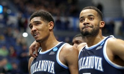 HARTFORD, CONNECTICUT - MARCH 23: Jermaine Samuels #23 and Phil Booth #5 of the Villanova Wildcats reacts after their teams loss to the Purdue Boilermakers during the second round of the 2019 NCAA Men's Basketball Tournament at XL Center on March 23, 2019 in Hartford, Connecticut. (Photo by Rob Carr/Getty Images)