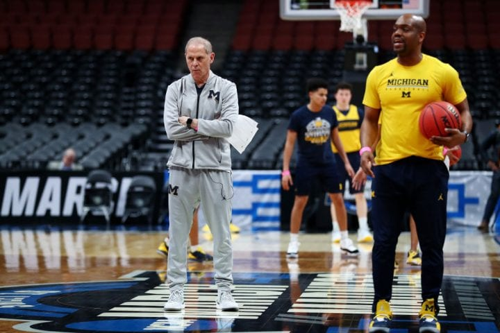 ANAHEIM, CALIFORNIA - MARCH 27: Head coach John Beilein of the Michigan Wolverines looks on during a practice session ahead of the 2019 NCAA Men's Basketball Tournament West Regional at Honda Center on March 27, 2019 in Anaheim, California. (Photo by Yong Teck Lim/Getty Images)