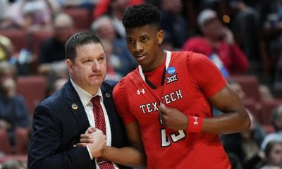 ANAHEIM, CALIFORNIA - MARCH 28: Head coach Chris Beard of the Texas Tech Red Raiders speaks to Jarrett Culver #23 during the 2019 NCAA Men's Basketball Tournament West Regional game against the Michigan Wolverines at Honda Center on March 28, 2019 in Anaheim, California. (Photo by Harry How/Getty Images)