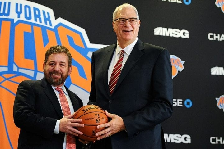 NEW YORK, NY - MARCH 18: James Dolan, L, Executive Chairman of Madison Square Garden, stands with Phil Jackson during the press conference to announce Jackson as President of the New York Knicks at Madison Square Garden on March 18, 2014 in New York City. (Photo by Maddie Meyer/Getty Images)