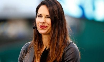 KANSAS CITY, MO - OCTOBER 26: Jessica Mendoza of ESPN speaks on set the day before Game 1 of the 2015 World Series between the Royals and Mets at Kauffman Stadium on October 26, 2015 in Kansas City, Missouri. (Photo by Maxx Wolfson/Getty Images)