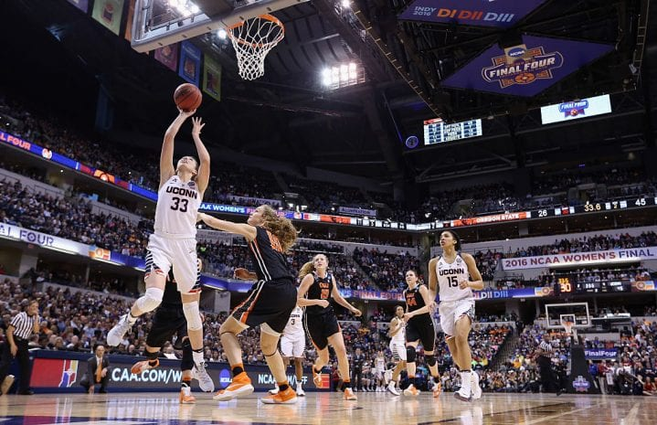 INDIANAPOLIS, IN - APRIL 03: Katie Lou Samuelson #33 of the Connecticut Huskies shoots against Katie McWilliams #10 of the Oregon State Beavers in the second quarter during the semifinals of the 2016 NCAA Women's Final Four Basketball Championship at Bankers Life Fieldhouse on April 3, 2016 in Indianapolis, Indiana. Connecticut won 80-51. (Photo by Andy Lyons/Getty Images)