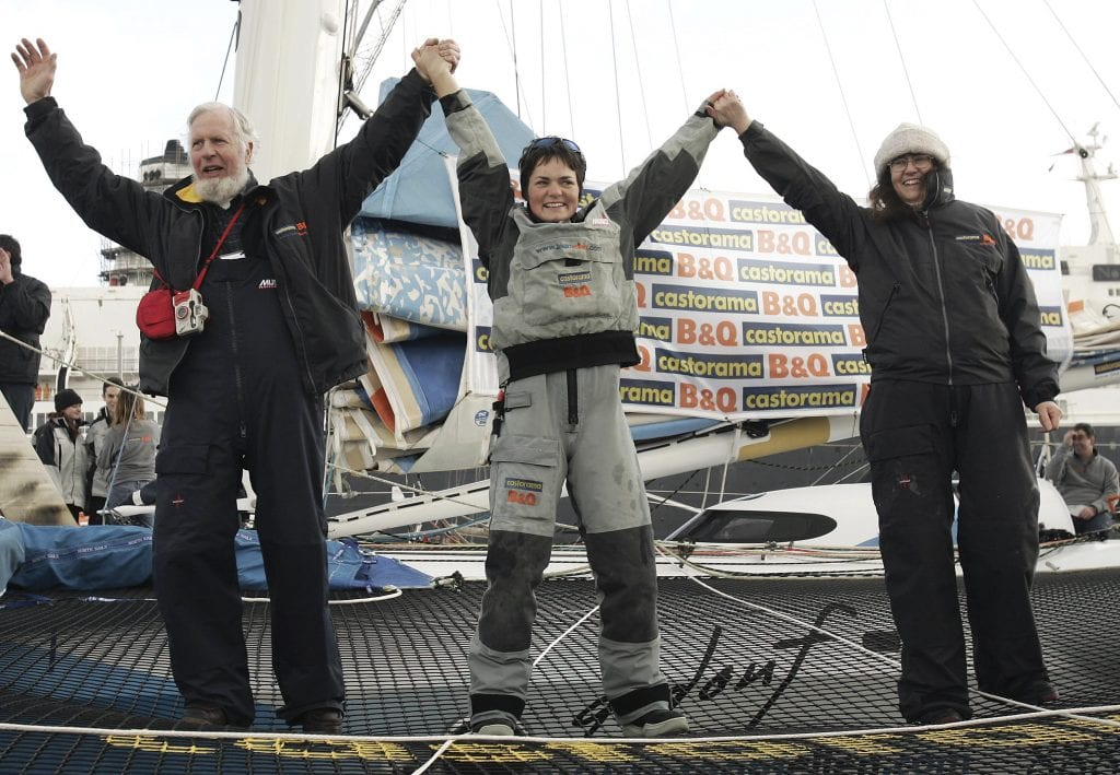 Dame Ellen MacArthur sails around the world record time