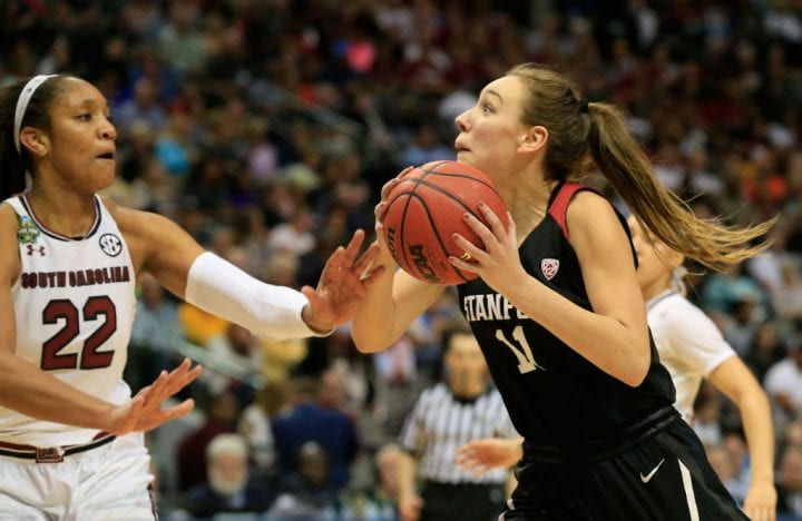 DALLAS, TX - MARCH 31: Alanna Smith #11 of the Stanford Cardinal shoots against A'ja Wilson #22 of the South Carolina Gamecocks in the second half during the semifinal round of the 2017 NCAA Women's Final Four at American Airlines Center on March 31, 2017 in Dallas, Texas. (Photo by Ron Jenkins/Getty Images)
