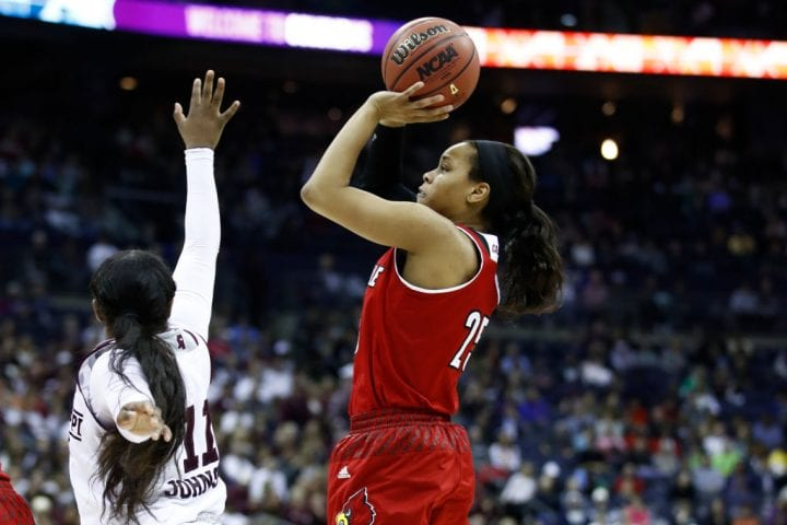 COLUMBUS, OH - MARCH 30: Asia Durr #25 of the Louisville Cardinals attempts a shot defended by Roshunda Johnson #11 of the Mississippi State Lady Bulldogs during the second half in the semifinals of the 2018 NCAA Women's Final Four at Nationwide Arena on March 30, 2018 in Columbus, Ohio. (Photo by Andy Lyons/Getty Images)