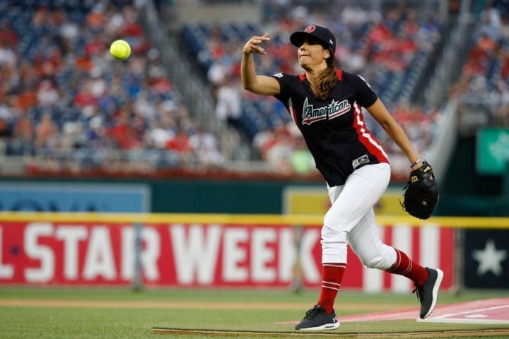 WASHINGTON, DC - JULY 15: Jessica Mendoza pitches during the All-Star and Legends Celebrity Softball Game at Nationals Park on July 15, 2018 in Washington, DC. (Photo by Patrick McDermott/Getty Images)