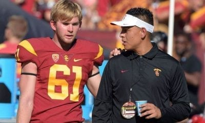 Jake Olson at USC in uniform