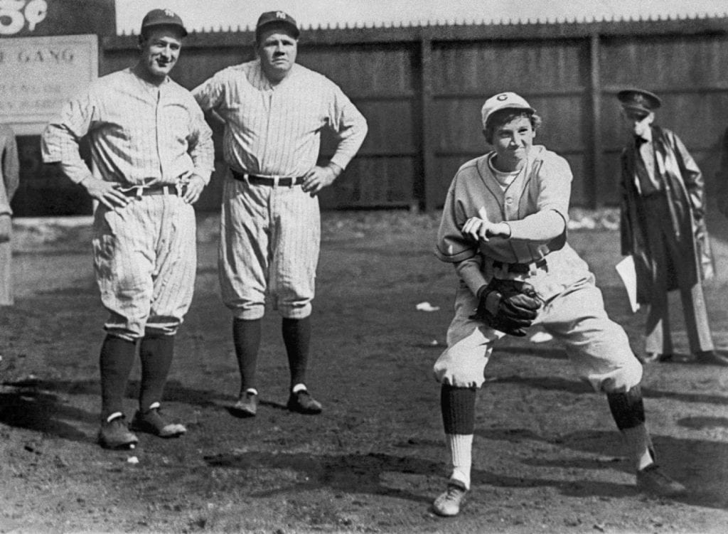 Jackie Mitchell strikes out Babe Ruth