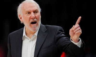 ATLANTA, GEORGIA - MARCH 06: Gregg Popovich of the San Antonio Spurs reacts against the Atlanta Hawks at State Farm Arena on March 06, 2019 in Atlanta, Georgia. NOTE TO USER: User expressly acknowledges and agrees that, by downloading and or using this photograph, User is consenting to the terms and conditions of the Getty Images License Agreement. (Photo by Kevin C. Cox/Getty Images)