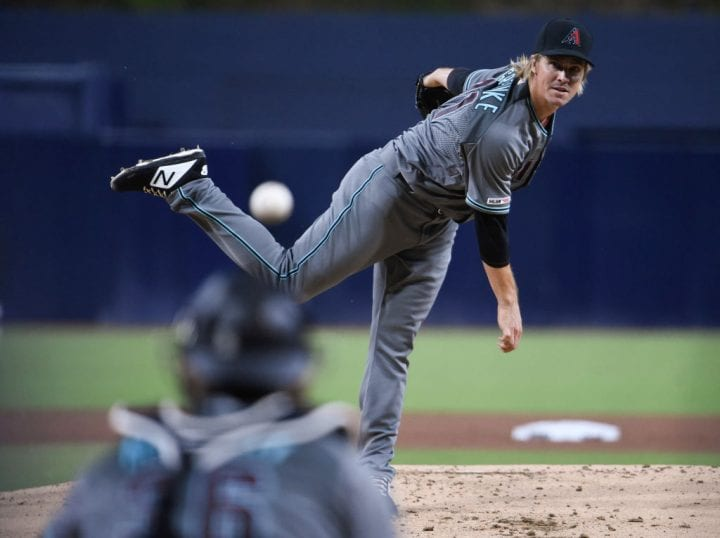 SAN DIEGO, CA - APRIL 2: Zack Greinke #21 of the Arizona Diamondbacks pitches during the first inning of a baseball game against the San Diego Padres at Petco Park April 2, 2019 in San Diego, California. (Photo by Denis Poroy/Getty Images)