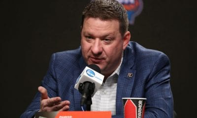 MINNEAPOLIS, MINNESOTA - APRIL 04: Head coach Chris Beard of the Texas Tech Red Raiders speaks with the media after being after Beard was named the Associated Press Men's Basketball Coach of the Year ahead of the Men's Final Four at U.S. Bank Stadium on April 04, 2019 in Minneapolis, Minnesota. (Photo by Maxx Wolfson/Getty Images)