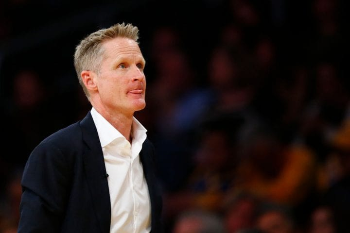 LOS ANGELES, CALIFORNIA - APRIL 04: Steve Kerr of the Golden State Warriors reacts during the second half of the game against Los Angeles Lakers at Staples Center on April 04, 2019 in Los Angeles, California. NOTE TO USER: User expressly acknowledges and agrees that, by downloading and or using this photograph, User is consenting to the terms and conditions of the Getty Images License Agreement. (Photo by Yong Teck Lim/Getty Images)