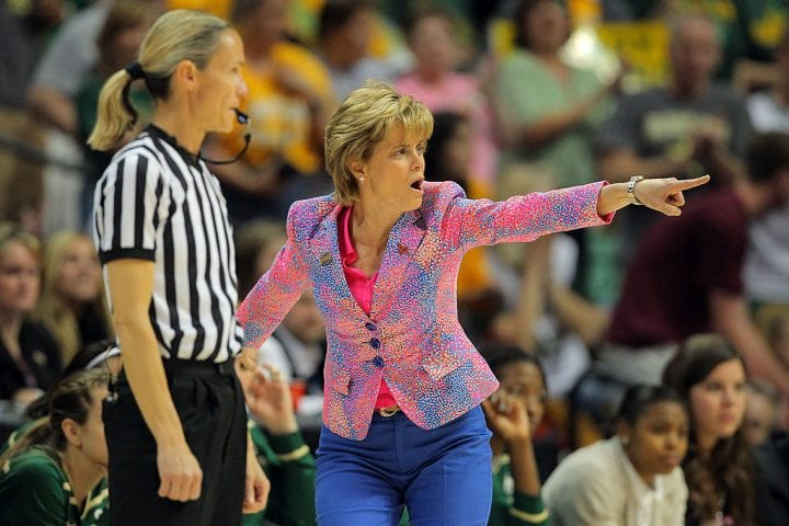 DENVER, CO - APRIL 01: Head coach Kim Mulkey of the Baylor Bears gestures as she coaches against the Stanford Cardinal during the National Semifinal game of the 2012 NCAA Division I Women's Basketball Championship at Pepsi Center on April 1, 2012 in Denver, Colorado. (Photo by Justin Edmonds/Getty Images)