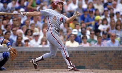 CHICAGO - AUGUST: Lenny Dykstra #4 of the Philadelphia Phillies swings at a pitch during an August, 1989 game against the Chicago Cubs at Wrigley Field in Chicago, Illinois. (Photo by Jonathan Daniel/Getty Images)