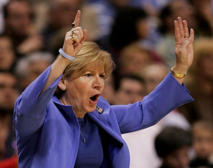 BOSTON - APRIL 02: Head coach Sylvia Hatchell of the North Carolina Tar Heels shouts from the bench during their game against the Maryland Terrapins during the 2006 Women's NCAA Basketball Championship Semifinals on April 2, 2006 at the TD Banknorth Garden in Boston, Massachusetts. (Photo by Elsa/Getty Images)