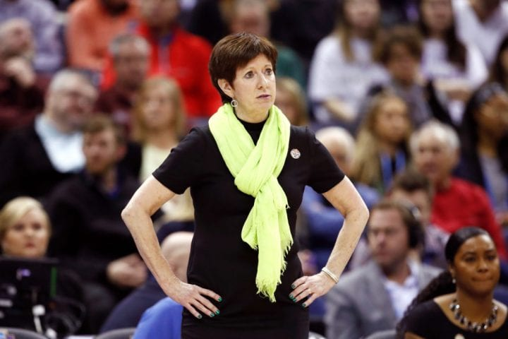 COLUMBUS, OH - APRIL 01: Head coach Muffet McGraw of the Notre Dame Fighting Irish reacts to her team against the Mississippi State Lady Bulldogs during the second quarter in the championship game of the 2018 NCAA Women's Final Four at Nationwide Arena on April 1, 2018 in Columbus, Ohio. (Photo by Andy Lyons/Getty Images)
